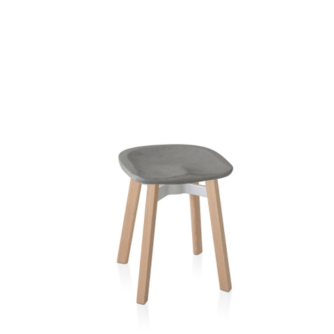 SU SMALL STOOL,ECO-CONCRETE SEAT WOODEN LEGS