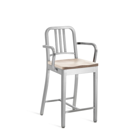 NAVY® COUNTER STOOL WITH ARMS AND NATURAL WOOD SEAT